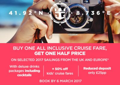 Buy One All Inclusive Cruise Fare & Get the 2nd at 1/2 Price