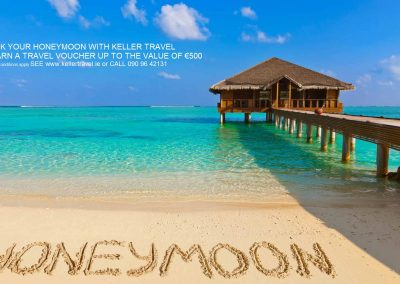 Book your Honeymoon with Keller Travel & Earn up to €500 in Travel Vouchers*